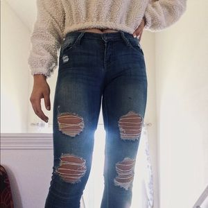 Low-Rise Skinny Ripped Jeans